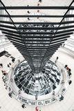 The Reichstag, Berlin, Germany. Abstract, wide-angle scene from within the Sir Norman Foster designed dome on top of the German parliament building, The stock images