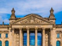Reichstag in Berlin. Reichstag houses of parliament in Berlin, Germany - Dem Deutschen Volke means To The German People Stock Photo