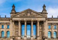 Reichstag in Berlin. Reichstag houses of parliament in Berlin, Germany - Dem Deutschen Volke means To The German People Stock Photos