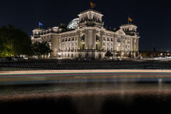 Reichstag in Berlin at night Royalty Free Stock Images