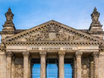 Reichstag in Berlin. Reichstag houses of parliament in Berlin, Germany - Dem Deutschen Volke means To The German People Royalty Free Stock Photos