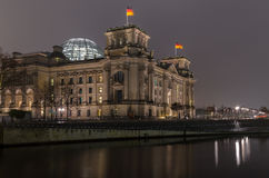 Reichstag, Berlin. Reichstag at Spree river in Berlin in the evening Royalty Free Stock Photography