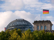 Reichstag Building. With flag, Berlin, Germany Stock Image