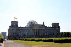 Reichstag building in Berlin, Germany July 23st 2016 - . Dedication on the frieze means To the German people.  Royalty Free Stock Photo