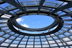 Reichstag building in Berlin, Germany July 23st 2016 - View of Reichstag glass dome, constructed on top of the rebuilt. Reichstag building Royalty Free Stock Image