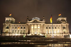 Reichstag building in Berlin at night. Reichstag building - the seat of the German parliament - in the capital of Germany, Berlin at night Royalty Free Stock Image