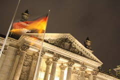Reichstag building in Berlin at night Stock Photo