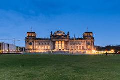 The Reichstag building in Berlin at night Stock Images