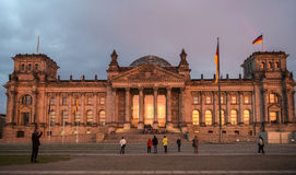 Reichstag building in the evening, Berlin, Germany Royalty Free Stock Images