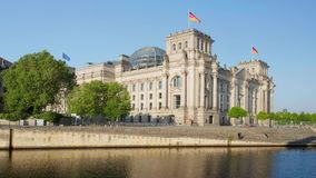 Reichstag building german government and river Spree in Berlin. Germany stock video
