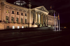 Reichstag building at night, Berlin Stock Photos