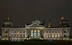 The Reichstag building at night in Berlin Royalty Free Stock Image