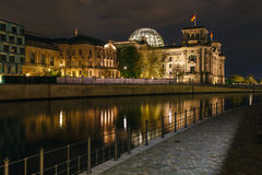 Reichstag Building at Night, Berlin, Germany Stock Image