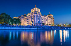 Reichstag building with Spree river at night, Berlin, Germany Stock Photography