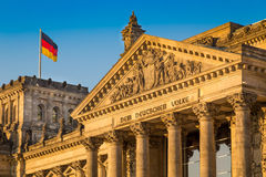 Reichstag building at sunset, Berlin, Germany royalty free stock image