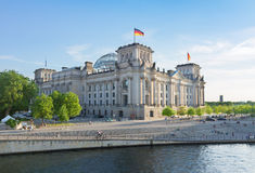 Reichstag building, view from Spree river in Stock Images