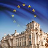 Reichstag (Bundestag) building in Berlin with flag on background - EU Royalty Free Stock Image