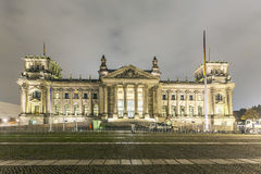 Reichstag or bundestag building in Berlin, Germany, at night Stock Image