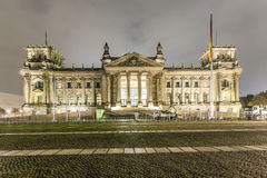 Reichstag or bundestag building in Berlin, Germany, at night Royalty Free Stock Image