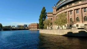 Reichstag byggnad i Stockholm sweden stock video