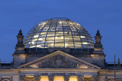 Reichstag. In capital of Germany, Berlin. Pictures shows the dome top of the building. Night shot. It`s now a famous tourist attraktion Stock Images