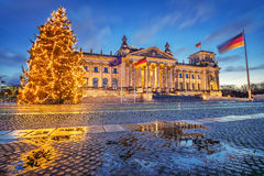Reichstag and christmas tree in Berlin. Reichstag christmas tree at night, Berlin, Germany Royalty Free Stock Photography