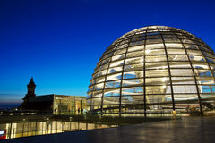 Reichstag Dome. Glass Reichstag Dome by night, Berlin stock images