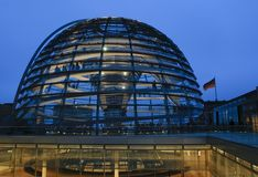 Reichstag with Flag Royalty Free Stock Image