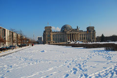 Reichstag: the German parliament, Berlin in winter. The German parliament and government buildings in Berlin. Seasonal Winter view with snow stock photos