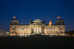 Reichstag. The german parliament building at night Royalty Free Stock Photos