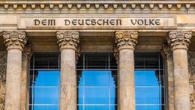 Reichstag in Berlin. Reichstag houses of parliament in Berlin, Germany - Dem Deutschen Volke means To The German People Royalty Free Stock Image