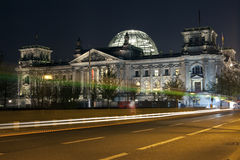 Reichstag and light trails in Berlin Stock Photos