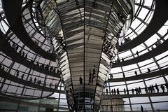 Reichstag - parliament building, inside the glass dome. Berlin Royalty Free Stock Photos