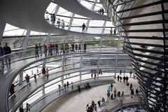 Reichstag - parliament building, inside the glass dome. Berlin Royalty Free Stock Photography