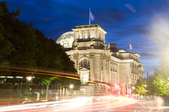The Reichstag Parliament night light Berlin Stock Images