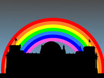 Reichstag with rainbow Royalty Free Stock Images