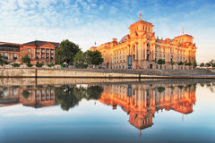 Reichstag with reflection in Spree, Berlin Stock Photography