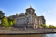 Reichstag seend from Spree river Stock Photography
