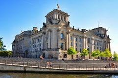 Reichstag seend from Spree river Royalty Free Stock Photos
