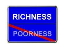Reichtum- und Poorneßzeichen Stockfotos