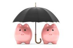 Reichtumsschutzkonzept. Sparschweine unter Regenschirm Stockbild