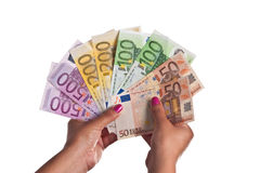 Reichweite der Eurobanknoten Stockbilder