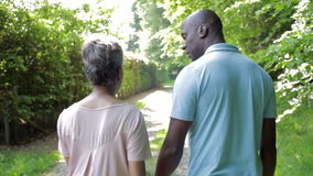 Reife Afroamerikaner-Paare, die in Landschaft gehen stock video footage