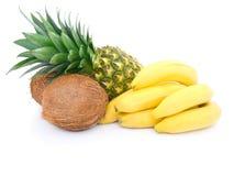Reife Ananas, Bündel Bananen und Kokosnuss Stockfotografie