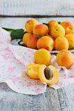 Reife Aprikosen auf einem Metallbehälter Stockbilder