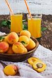 Reife Aprikosen und Aprikosensaft Lizenzfreie Stockfotos