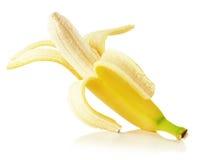 Reife Banane lokalisiert auf dem weißen Hintergrund Stockfotos
