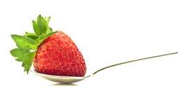 Reife Erdbeere auf einem Löffel Lizenzfreie Stockbilder