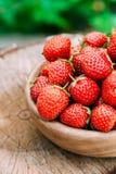 Reife Erdbeere im Frucht-Garten, alte hölzerne Schüssel gefüllt mit Fre Stockfotos
