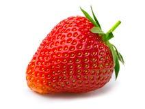 Reife Erdbeere mit den Blättern lokalisiert auf einem Weiß Stockfotos
